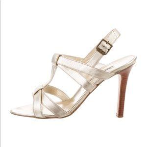 Beautiful Manolo Blahnik metallic gold sandals